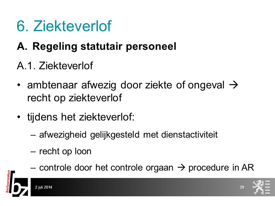 6. Ziekteverlof Regeling statutair personeel A.1. Ziekteverlof