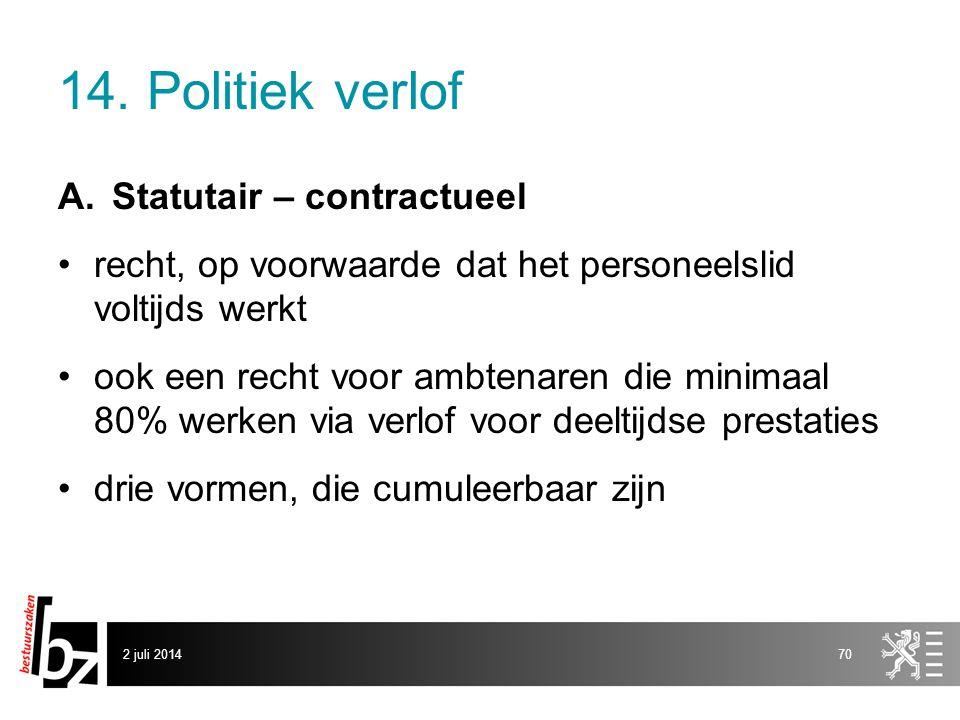 14. Politiek verlof Statutair – contractueel