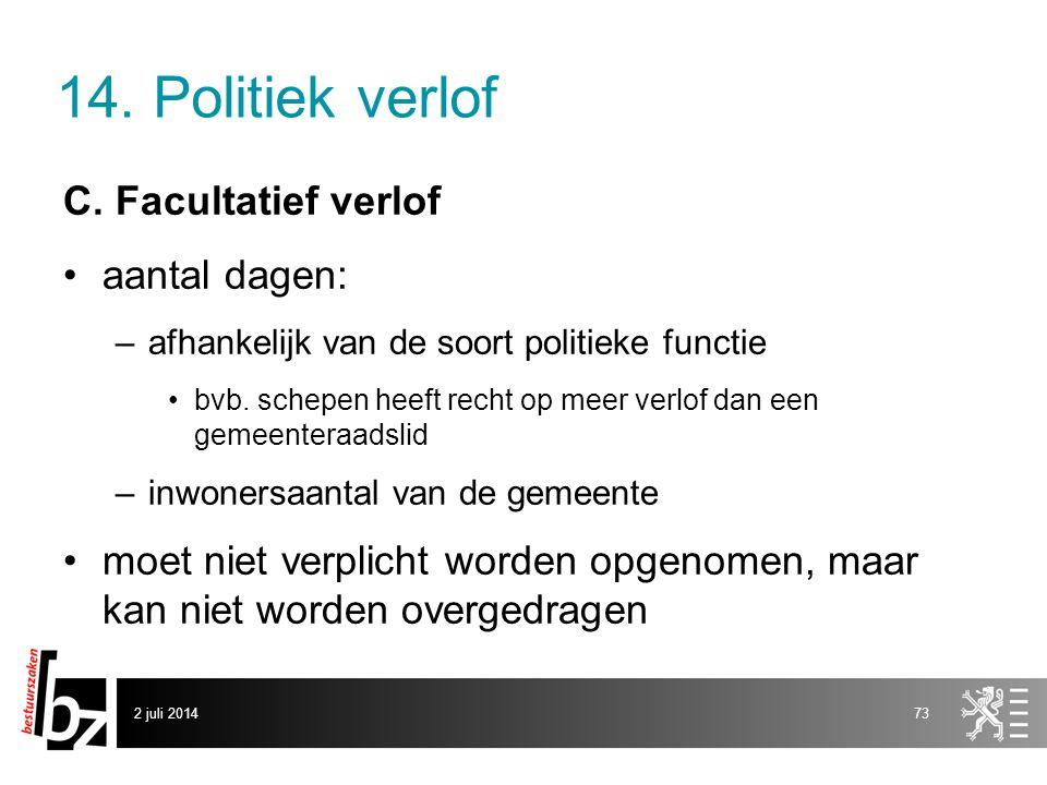 14. Politiek verlof C. Facultatief verlof aantal dagen: