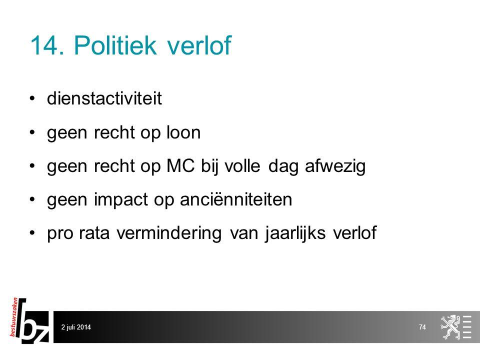 14. Politiek verlof dienstactiviteit geen recht op loon
