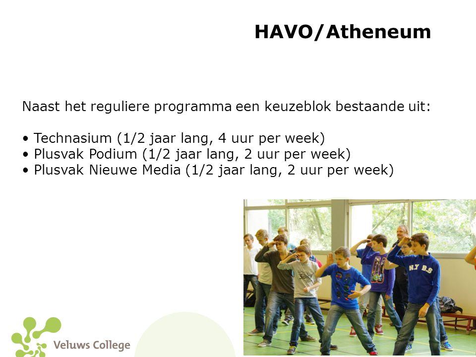 HAVO/Atheneum Naast het reguliere programma een keuzeblok bestaande uit: Technasium (1/2 jaar lang, 4 uur per week)