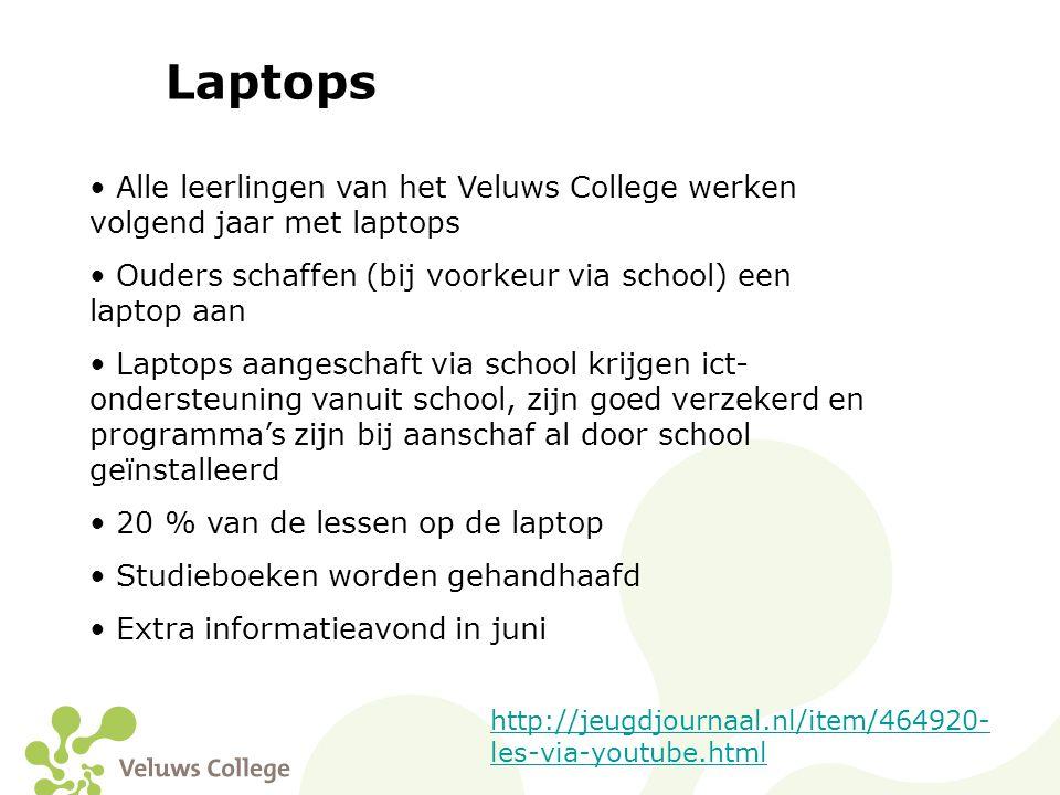 Laptops Alle leerlingen van het Veluws College werken volgend jaar met laptops. Ouders schaffen (bij voorkeur via school) een laptop aan.