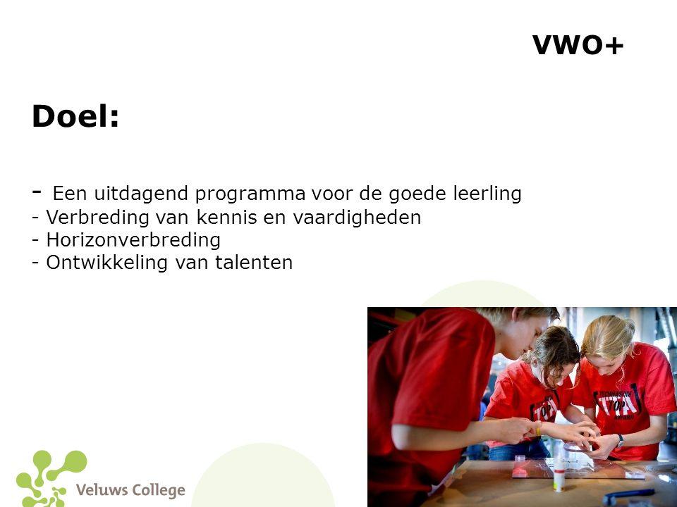Doel: VWO+ Een uitdagend programma voor de goede leerling