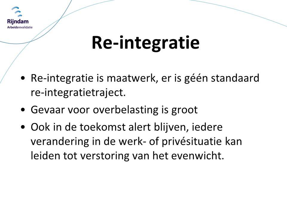 Re-integratie Re-integratie is maatwerk, er is géén standaard re-integratietraject. Gevaar voor overbelasting is groot.