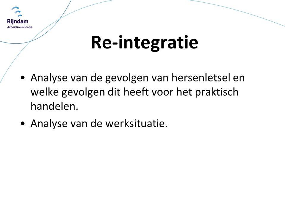 Re-integratie Analyse van de gevolgen van hersenletsel en welke gevolgen dit heeft voor het praktisch handelen.