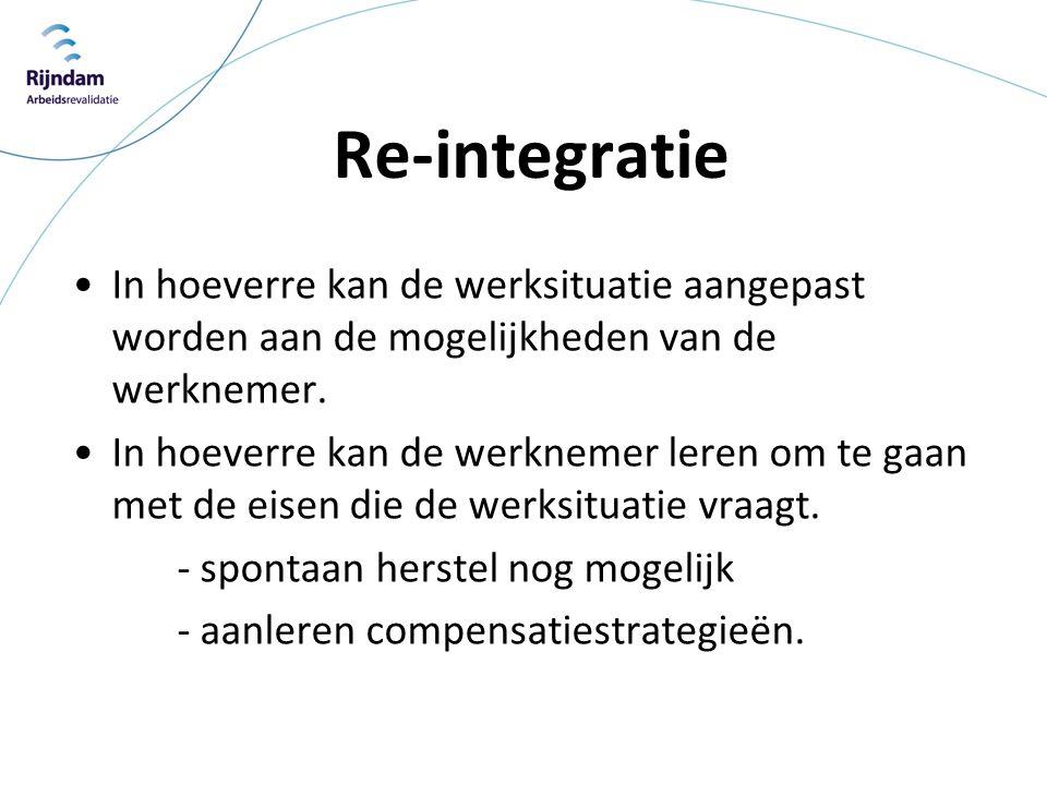 Re-integratie In hoeverre kan de werksituatie aangepast worden aan de mogelijkheden van de werknemer.