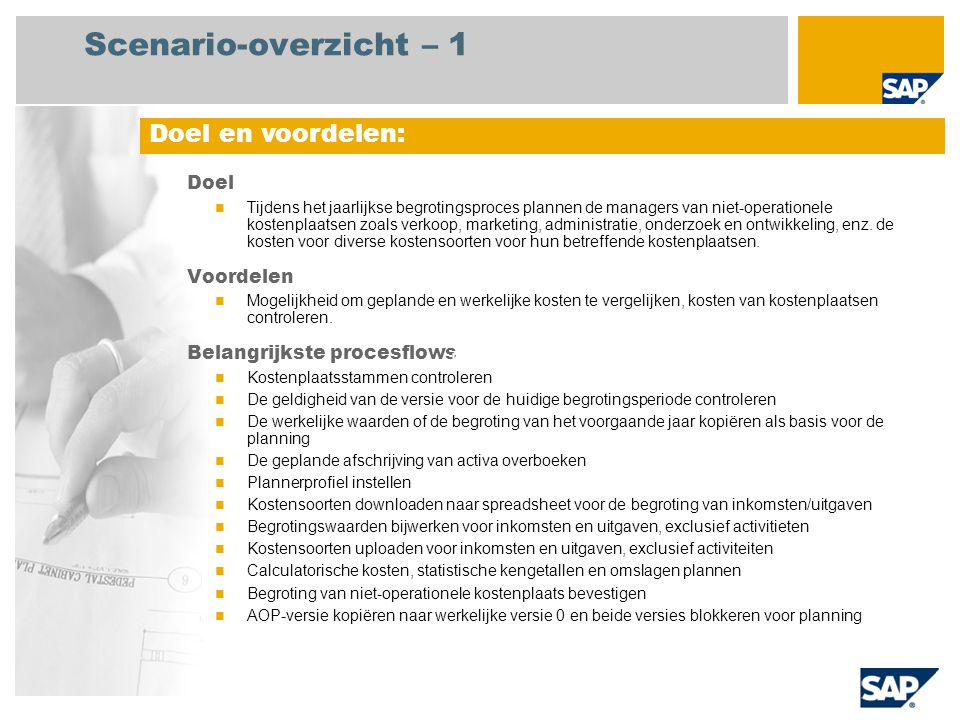 Scenario-overzicht – 1 Doel en voordelen: België Doel Voordelen