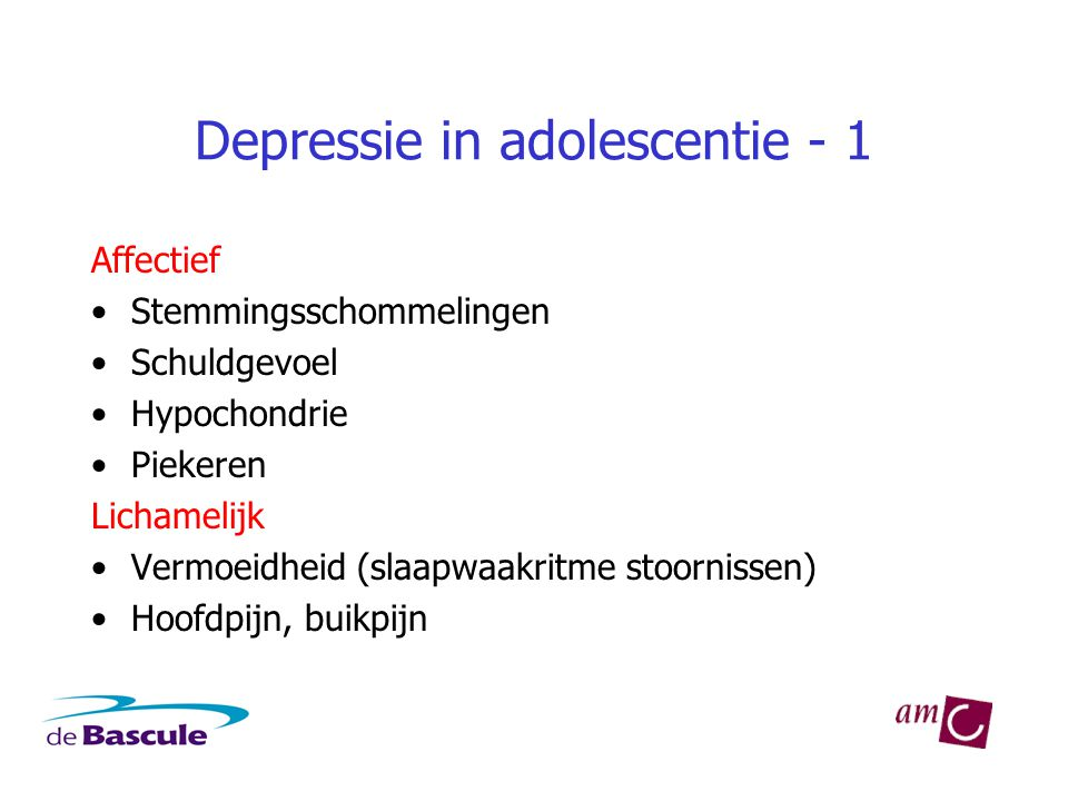 Depressie in adolescentie - 1