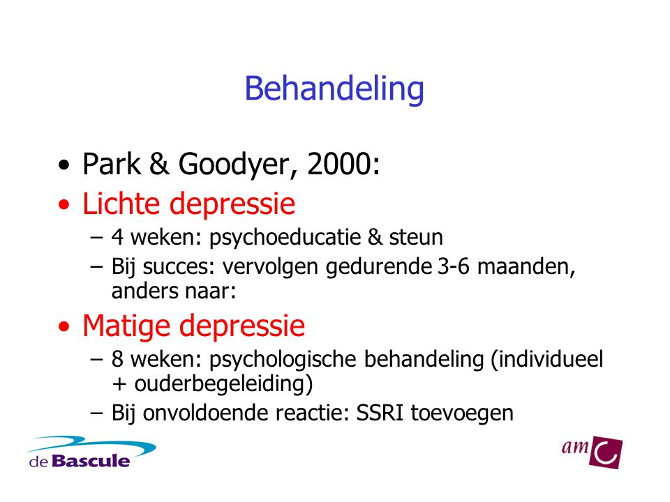 Behandeling Park & Goodyer, 2000: Lichte depressie Matige depressie