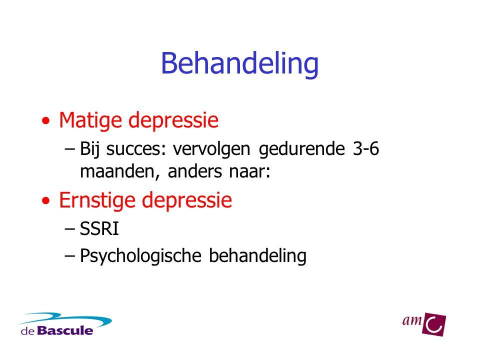 Behandeling Matige depressie Ernstige depressie
