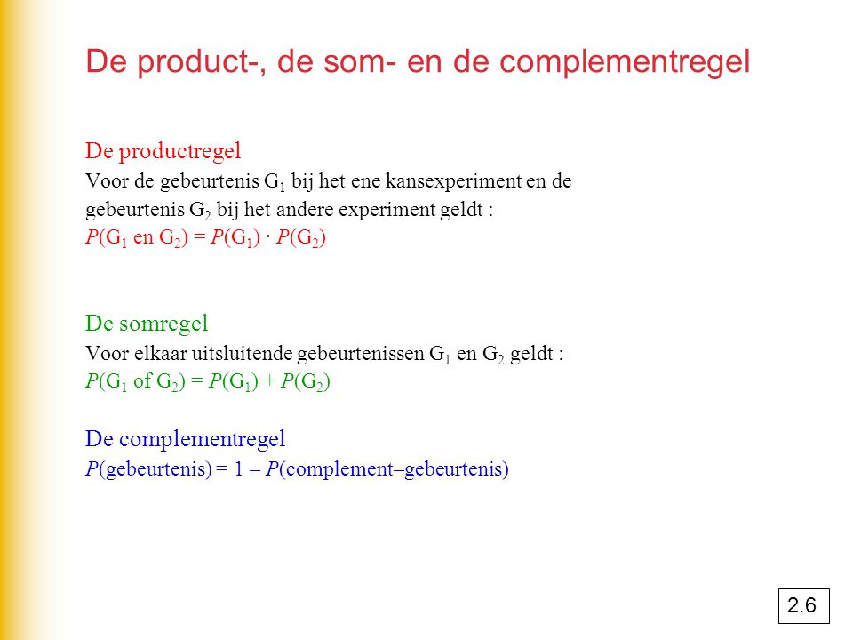 De product-, de som- en de complementregel