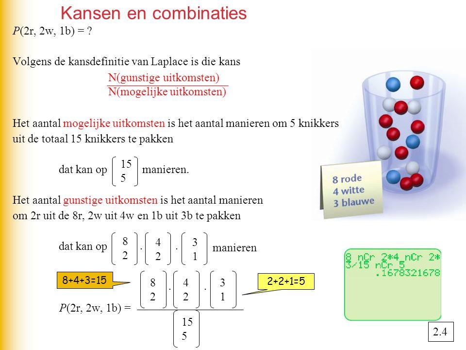 Kansen en combinaties P(2r, 2w, 1b) =