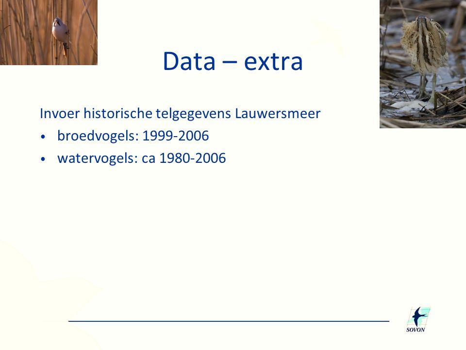 Data – extra Invoer historische telgegevens Lauwersmeer