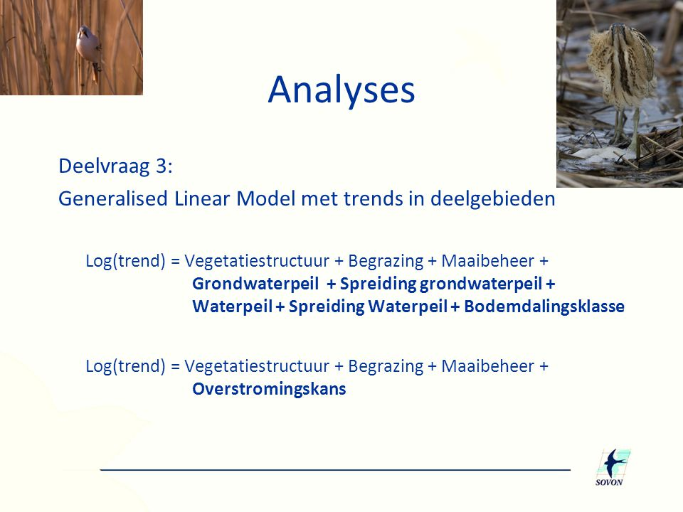Analyses Deelvraag 3: Generalised Linear Model met trends in deelgebieden.