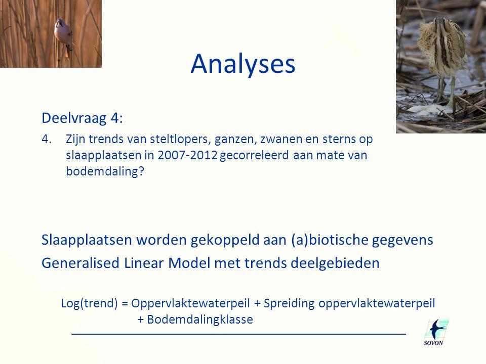 Analyses Deelvraag 4: Zijn trends van steltlopers, ganzen, zwanen en sterns op slaapplaatsen in 2007-2012 gecorreleerd aan mate van bodemdaling