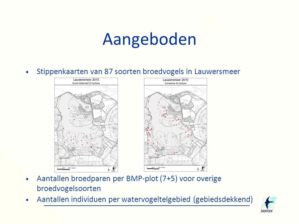 Aangeboden Stippenkaarten van 87 soorten broedvogels in Lauwersmeer