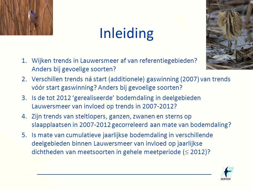 Inleiding 1. Wijken trends in Lauwersmeer af van referentiegebieden Anders bij gevoelige soorten