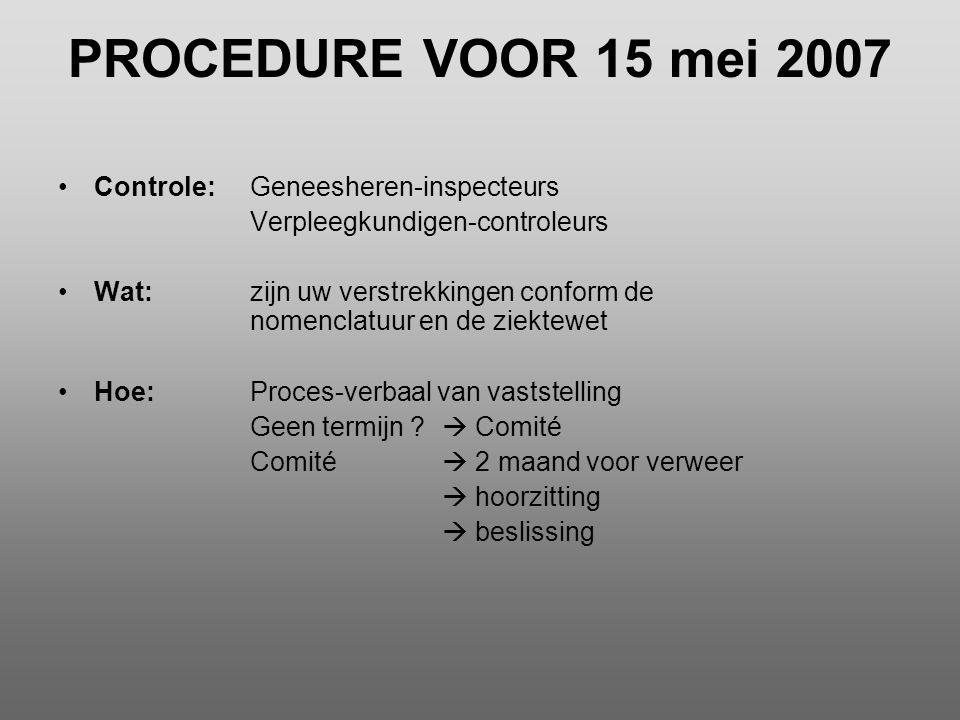 PROCEDURE VOOR 15 mei 2007 Controle: Geneesheren-inspecteurs