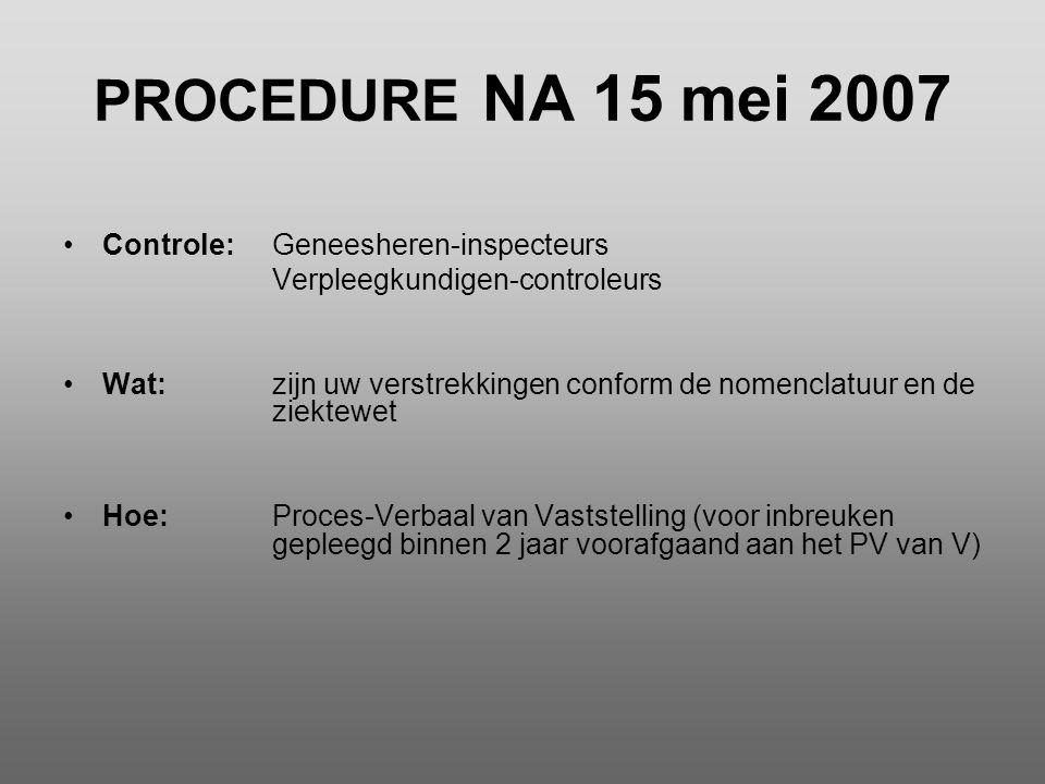 PROCEDURE NA 15 mei 2007 Controle: Geneesheren-inspecteurs