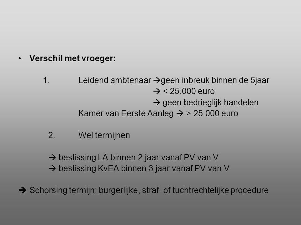 Verschil met vroeger: 1. Leidend ambtenaar geen inbreuk binnen de 5jaar.  < 25.000 euro.  geen bedrieglijk handelen.