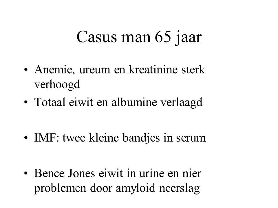 Casus man 65 jaar Anemie, ureum en kreatinine sterk verhoogd