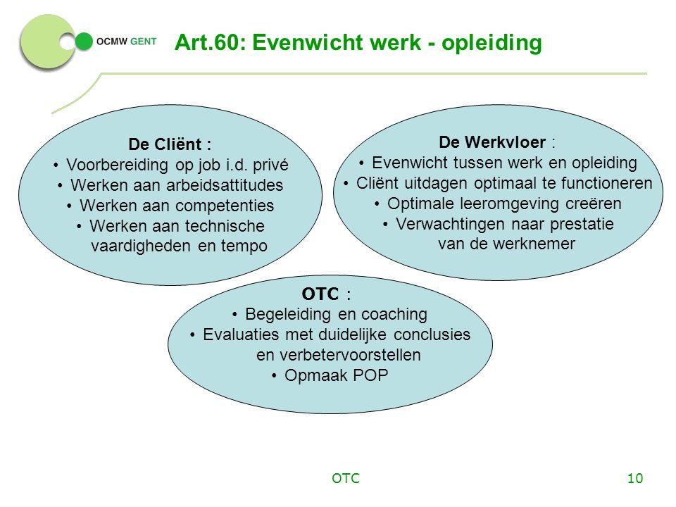 Art.60: Evenwicht werk - opleiding