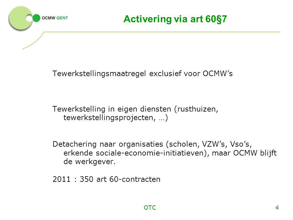 Activering via art 60§7 Tewerkstellingsmaatregel exclusief voor OCMW's