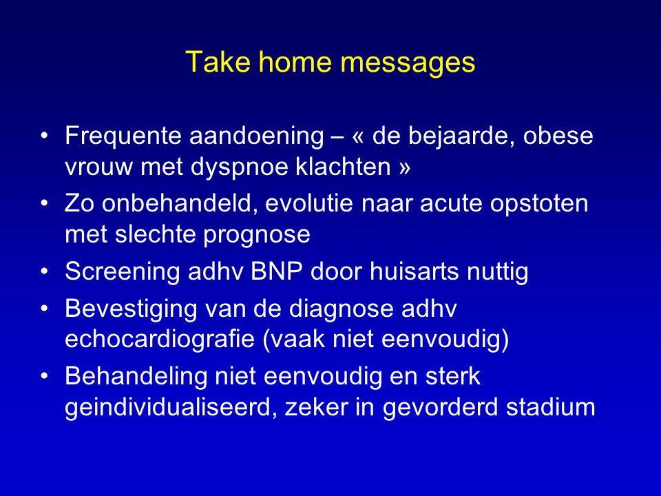 Take home messages Frequente aandoening – « de bejaarde, obese vrouw met dyspnoe klachten »