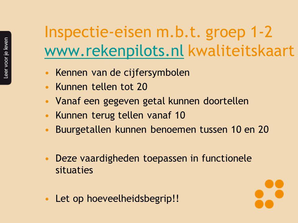 Inspectie-eisen m.b.t. groep 1-2 www.rekenpilots.nl kwaliteitskaart