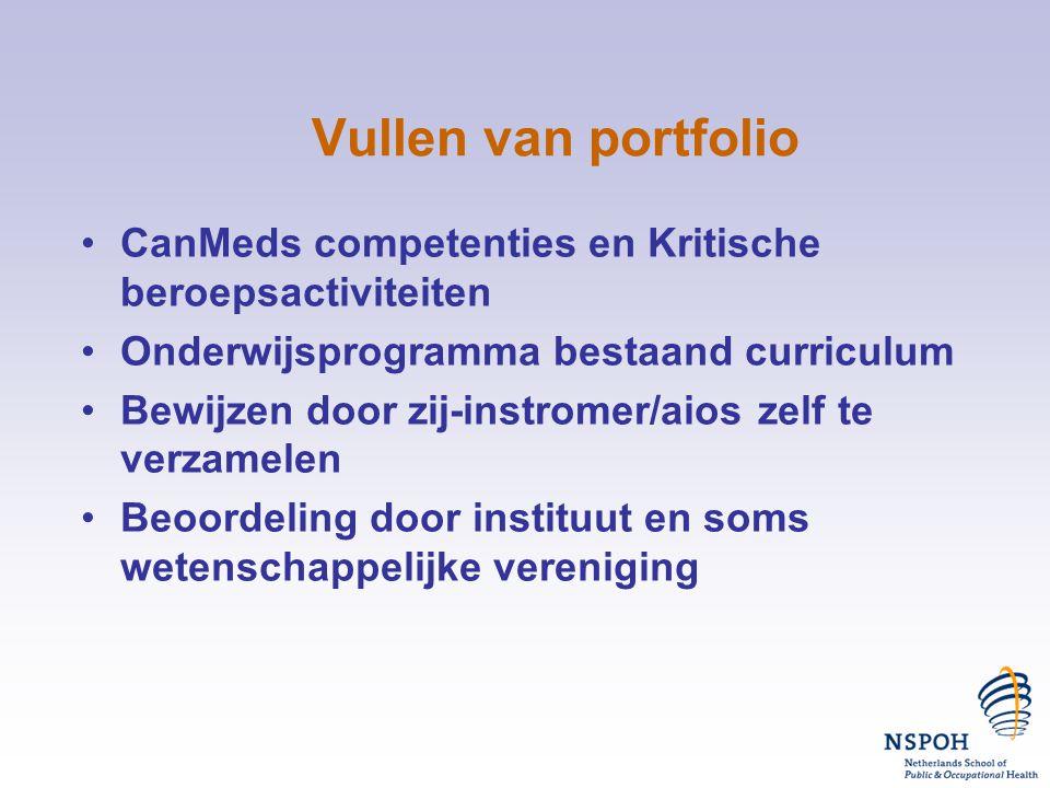 Vullen van portfolio CanMeds competenties en Kritische beroepsactiviteiten. Onderwijsprogramma bestaand curriculum.