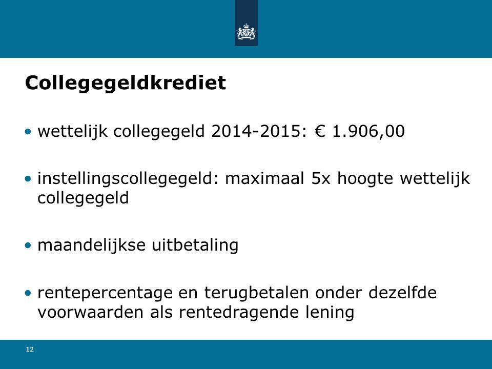 Collegegeldkrediet wettelijk collegegeld 2014-2015: € 1.906,00