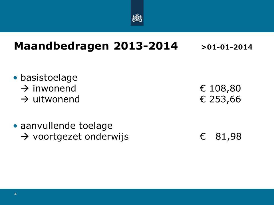 Maandbedragen 2013-2014 >01-01-2014