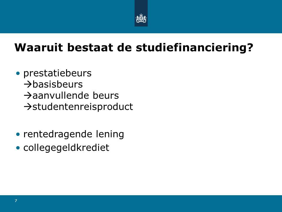 Waaruit bestaat de studiefinanciering