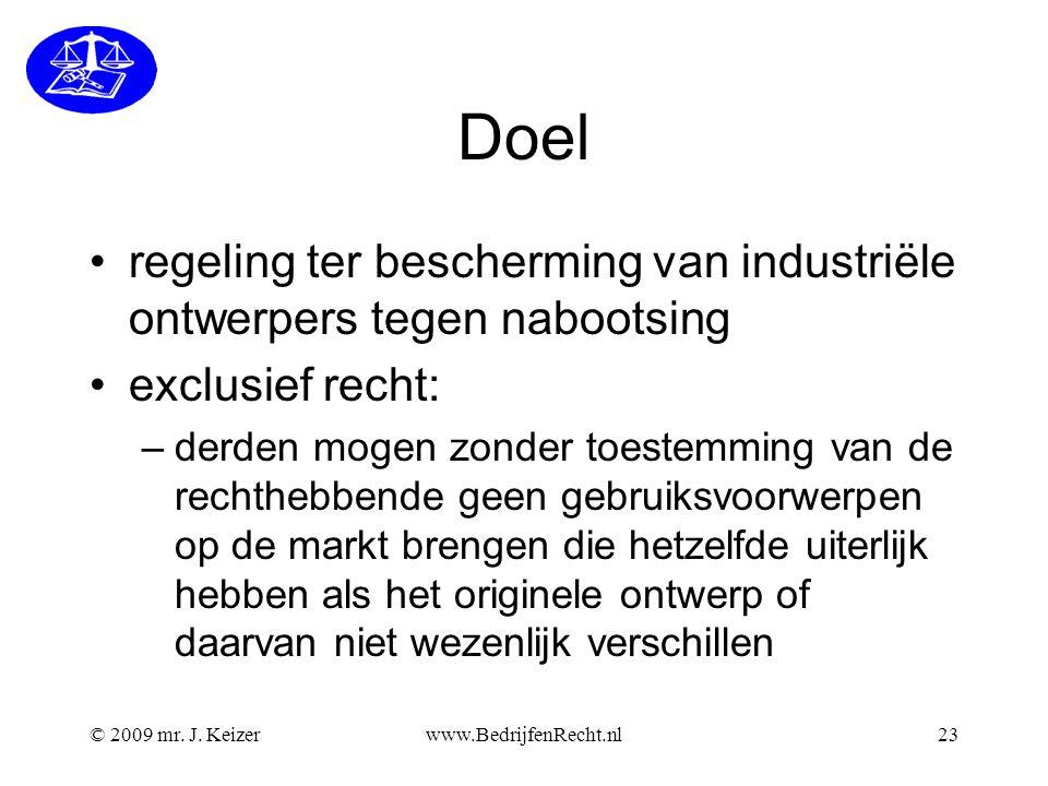 Doel regeling ter bescherming van industriële ontwerpers tegen nabootsing. exclusief recht: