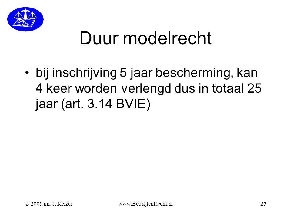 Duur modelrecht bij inschrijving 5 jaar bescherming, kan 4 keer worden verlengd dus in totaal 25 jaar (art. 3.14 BVIE)