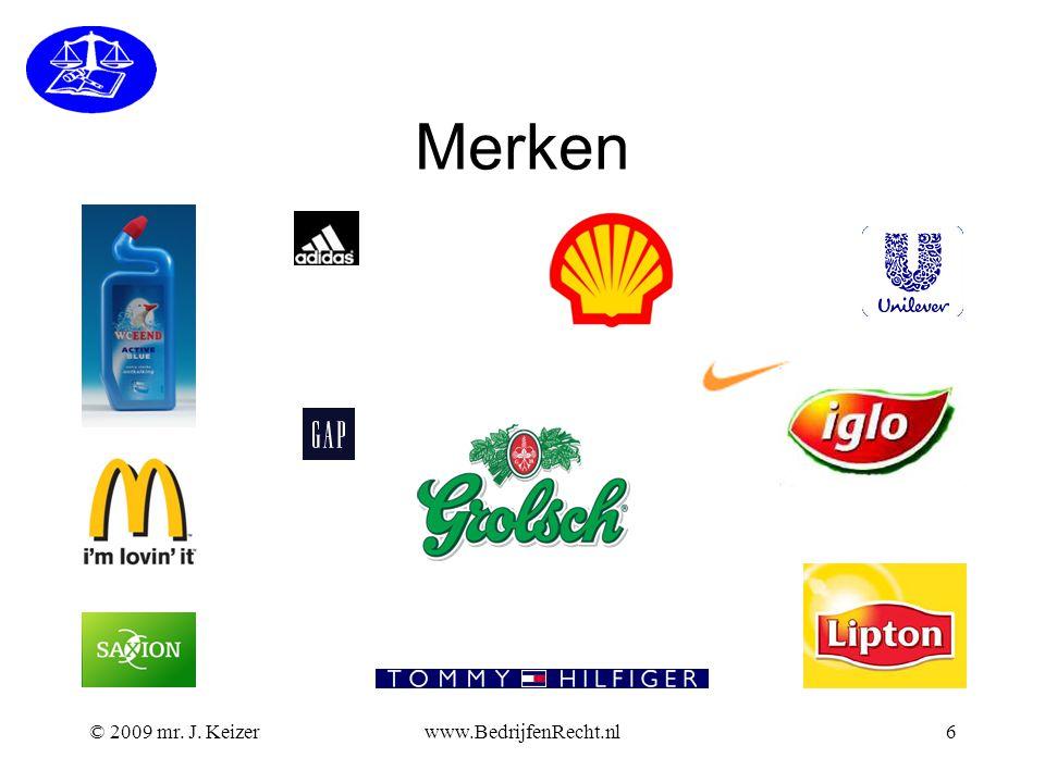 Merken © 2009 mr. J. Keizer www.BedrijfenRecht.nl