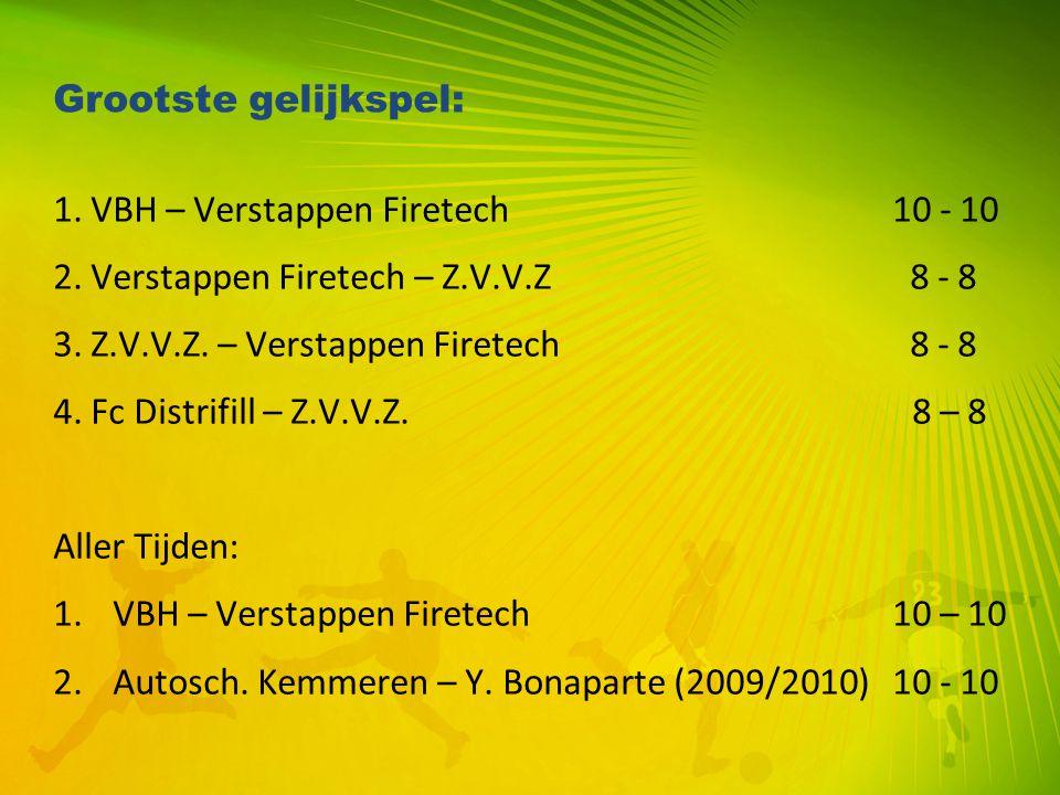 Grootste gelijkspel: 1. VBH – Verstappen Firetech 10 - 10. 2. Verstappen Firetech – Z.V.V.Z 8 - 8.