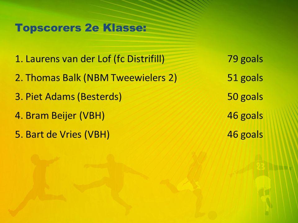 Topscorers 2e Klasse: 1. Laurens van der Lof (fc Distrifill) 79 goals. 2. Thomas Balk (NBM Tweewielers 2) 51 goals.