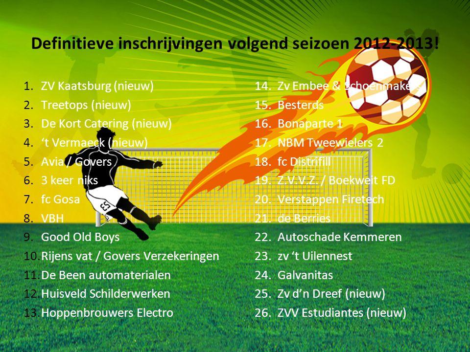 Definitieve inschrijvingen volgend seizoen 2012-2013!