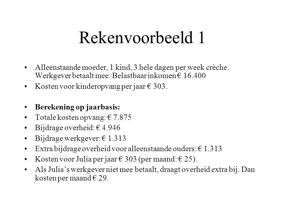 Rekenvoorbeeld 1 Alleenstaande moeder, 1 kind, 3 hele dagen per week crèche. Werkgever betaalt mee. Belastbaar inkomen € 16.400.