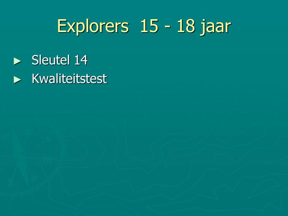 Explorers 15 - 18 jaar Sleutel 14 Kwaliteitstest 18