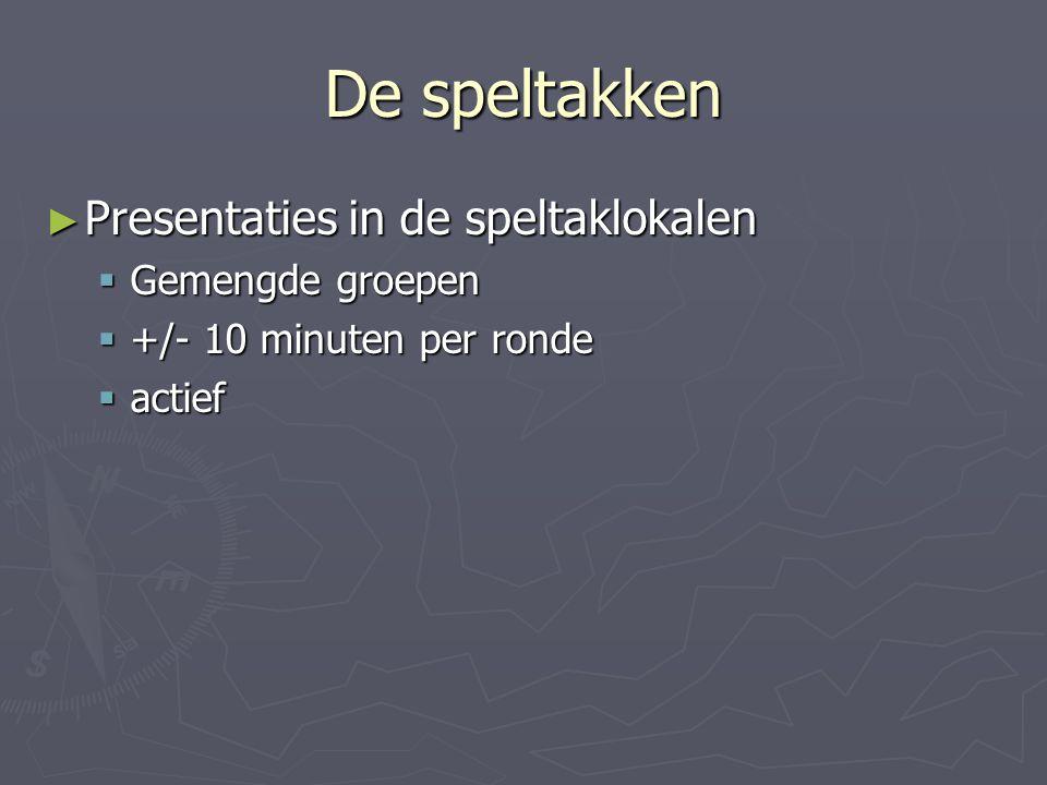 De speltakken Presentaties in de speltaklokalen Gemengde groepen