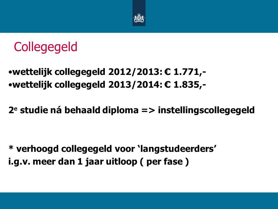 Collegegeld wettelijk collegegeld 2012/2013: € 1.771,-