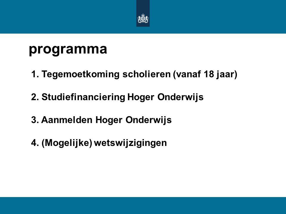 programma 1. Tegemoetkoming scholieren (vanaf 18 jaar)
