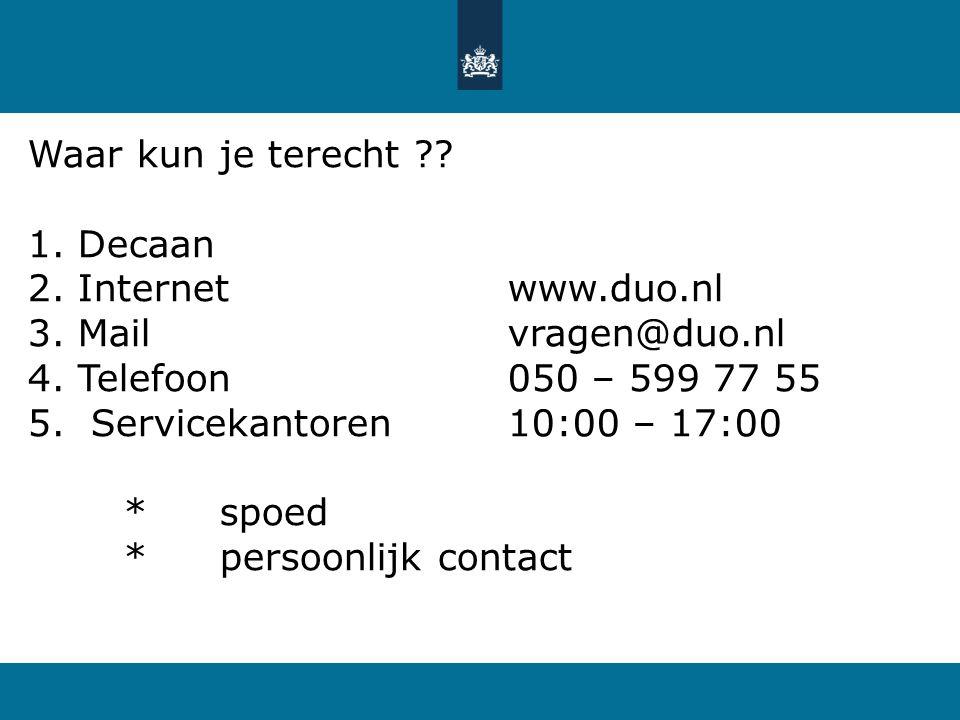 Waar kun je terecht Decaan Internet www.duo.nl Mail vragen@duo.nl