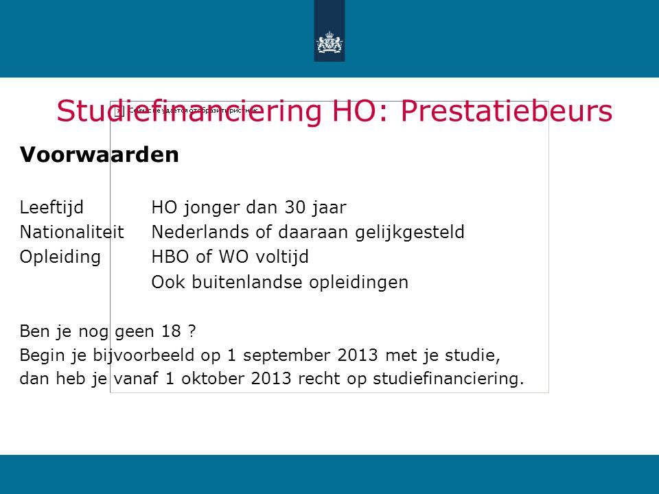 Studiefinanciering HO: Prestatiebeurs