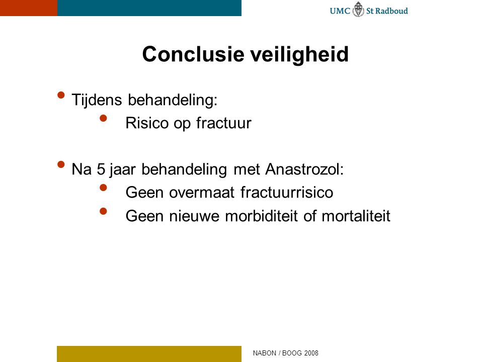 Conclusie veiligheid Tijdens behandeling: Risico op fractuur