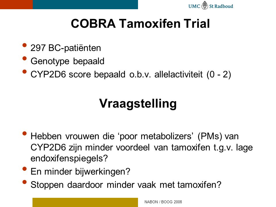COBRA Tamoxifen Trial Vraagstelling