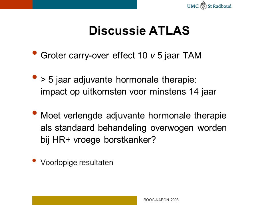 Discussie ATLAS Groter carry-over effect 10 v 5 jaar TAM