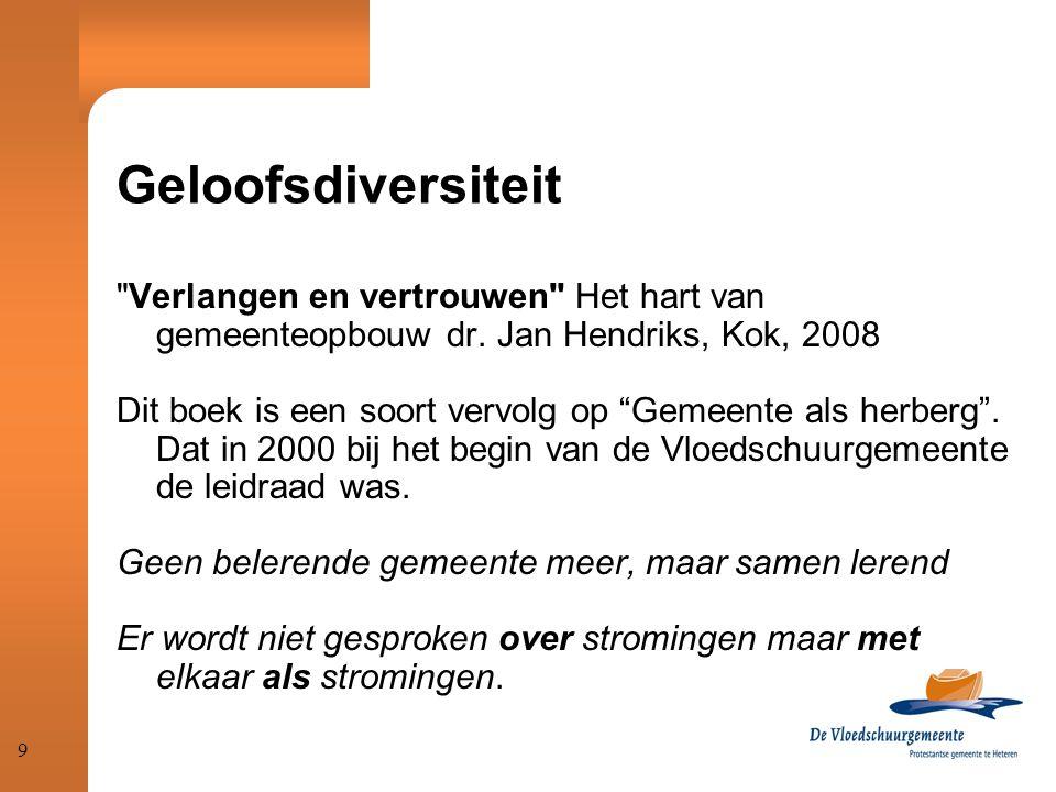 Geloofsdiversiteit Verlangen en vertrouwen Het hart van gemeenteopbouw dr. Jan Hendriks, Kok, 2008.
